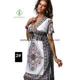 Платье пляжа 2017 женщин способа крупноразмерное напечатанное Богемией сексуальное