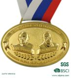 Grabado en relieve del metal Oro y Medalla de Plata