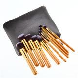 Noir de base du professionnel 10PCS de mode et balai de fard à paupières de brosse de lecture de renivellement d'or