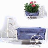 Metallgarten-Dekoration-sauberes weißes Dreiradhölzerne Wagenflowerpot-Fertigkeit