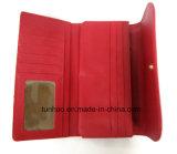 Fold Wallet dell'unità di elaborazione del grano dello struzzo di colore rosso della signora