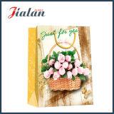 花模様のカスタムロゴデザインは安い卸し売り紙袋を作った