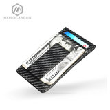 Fibra de carbono RFID Bloqueo Scan Card Holder Money Clip