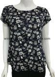 전면 인쇄를 가진 여자를 위한 100%년 폴리에스테 기본적인 작풍 t-셔츠