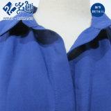 Blaue kurze Hülsen-Revers-Form-Dame-Bluse