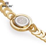 Do lado de aço novo da engrenagem do disco do dobro do relógio das senhoras de Belbi relógio Lua-Shaped de quartzo da cinta do bracelete