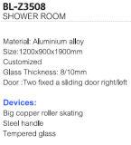 Cerco do chuveiro da liga de alumínio de venda direta da fábrica com prateleira (BL-Z3508)
