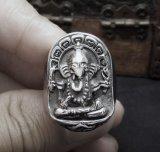 富のステンレス鋼の男性のリング型の銀のGaneshaの神