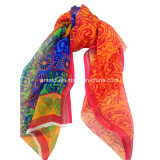 As multi cores imprimiram o xaile da seda da dobra de 100%