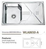 Bacia do aço inoxidável de dissipador de cozinha única com placa Wla8650-a do dreno