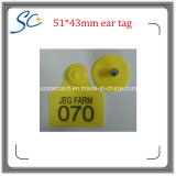 Atacado 51 * 43mm Plastic Sheep Goat Ear Tags para Animal Tracking