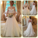 Hoher Stutzen-lange Hülsen schnüren sich A - Zeile Gerichts-Serien-Hochzeits-Kleid (Dream-100079)