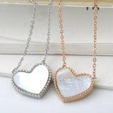 [ستينلسّ ستيل] سيّدة مجوهرات نمو بيضاء قشرة قذيفة قلب مدلّاة عقد