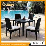 Jardín que cena el conjunto al aire libre del vector de la rota de las sillas del negro de mimbre de los muebles del patio