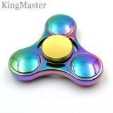 Hilanderos brillantes de la persona agitada del metal de los juguetes del UFO del arco iris