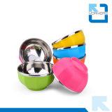 Acier inoxydable d'isolation colorée et cuvette de bébé de cuvette en métal de pp