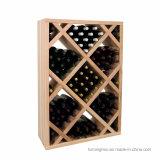 Het houten Rek van de Tribune van de Vertoning van de Fles van de Opslag van de Wijn van de Vloer met Wiel