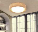 Metal moderno y luces de cristal de la lámpara del techo del LED acabados en la pintura de madera del grano para el dormitorio, Dia35cm