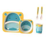 Jeu incassable de plaque de dîner de vaisselle en bambou de gosse de vaisselle de la mélamine de fibre des enfants en bambou respectueux de l'environnement de vaisselle