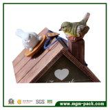 Caixa de música de madeira da casa do pássaro de Decoratitive para o presente