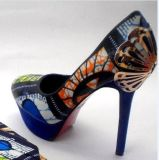 New West African Printed Fabrics Fashion High Heel Shoes (HCY02-1354)