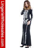 Costume Appetit косточки платья сексуальной длинней каркасной печати партии Halloween женщин макси
