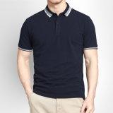 T-shirts 100% de polo de T-shirts de logo brodés par coutume de coton pour les hommes
