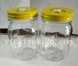 Vaso di vetro del condimento per sale o pepe con il coperchio del metallo