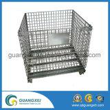 Envase plegable plegable de la paleta de la jaula del almacenaje del acoplamiento de alambre de acero
