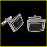 Collegamento di polsino classico nero rettangolare placcato argento