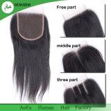 La fermeture 4X4 de lacet de cheveu de Vierge libèrent/fermeture suisse lacet de milieu/trois parts première directement