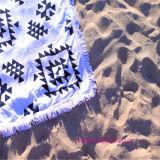 Essuie-main 100% de plage estampé carré de coton avec des glands
