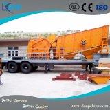 Planta de esmagamento móvel do caminhão Rubber-Tyred portátil da esteira rolante do triturador