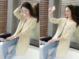Casaco de lã longo da camisola das mulheres