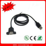 USB 2.0 Female Panel Mount Cable com Lock Screw