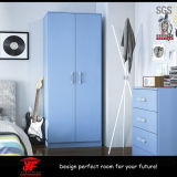 子供の寝室の家具の現代青い寝室セットの木のワードローブ