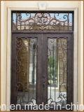 トランサムが付いている最もよいSalingの錬鉄の倍の入口の前ドア