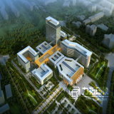 空中写真の商業建物の外部のレンダリング