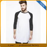 T-shirts faits sur commande de chemise de Raglan de coton de Mens longs