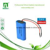 Paquete de la batería del Li-ion de la venta al por mayor 18650 2s1p 7.2V 2600mAh para las luces de la Navidad
