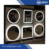 Specchio di figura rotonda LED di Frameless con il rilievo antinebbia