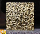 Mattonelle martellate dorate impresse dello specchio di vetro delle mattonelle di vetro moderne dello specchio del ristorante della villa dell'hotel del salone dello specchio
