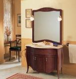 Vaidade clássica de madeira do banheiro da cereja
