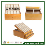 Caja de almacenamiento de madera de lujo de la correa de fijación con gran espacio