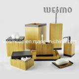 Accessoire de bain en bambou carbonisé avec bord noir (WBB0617A)
