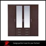 Garderobe van de Spiegel van de Luxe van het Ontwerp van de Muur van de Slaapkamer van de kast de Eenvoudige Moderne Houten