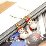 Oorringen van de Daling van de Sneeuwman van het Kristal van het Email van de Giften van Kerstmis de Witte Rode Mini