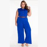 、円形カラー袖なし、方法女性服のための高いウエストのズボン