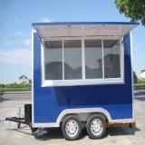 Carrello mobile dell'alimento con le rotelle per il chiosco del hot dog del caffè degli alimenti a rapida preparazione