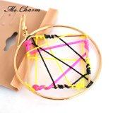 Brincos geométricos do círculo da corda preta amarela vermelha do Weave